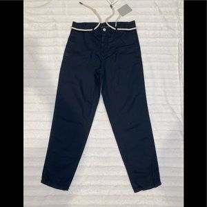 Zara Man Blue Casual Pants With Rope Belt Size 31